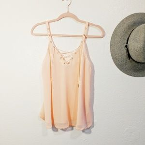 Guess • Peach Lace Up Sheer Tank